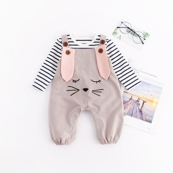 2-piece Stripes Top and Rabbit Embroidery Overall for Baby | modern baby dresses kids fashion #matchingoutfit #toddles #kid #baby #momandbaby #dadandbaby #family #cute #clothing #babysuit #romper #tshirt #tee #dress #fashionoftheday #patpat #patpatshopping #cuteclothes #newborn #babygirl #outfitsforschool #onepiece #cuteoutfits #mommyandkids #babyboy