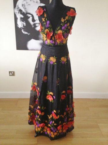 Vintage 70's Retro Boho Chic Black Embroidered Orange Floral Applique Dress