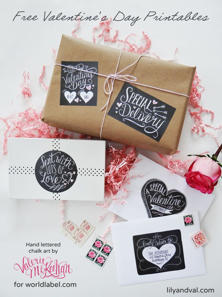 Free Hand Drawn Chalk Art ValentineS Day Label Printables By