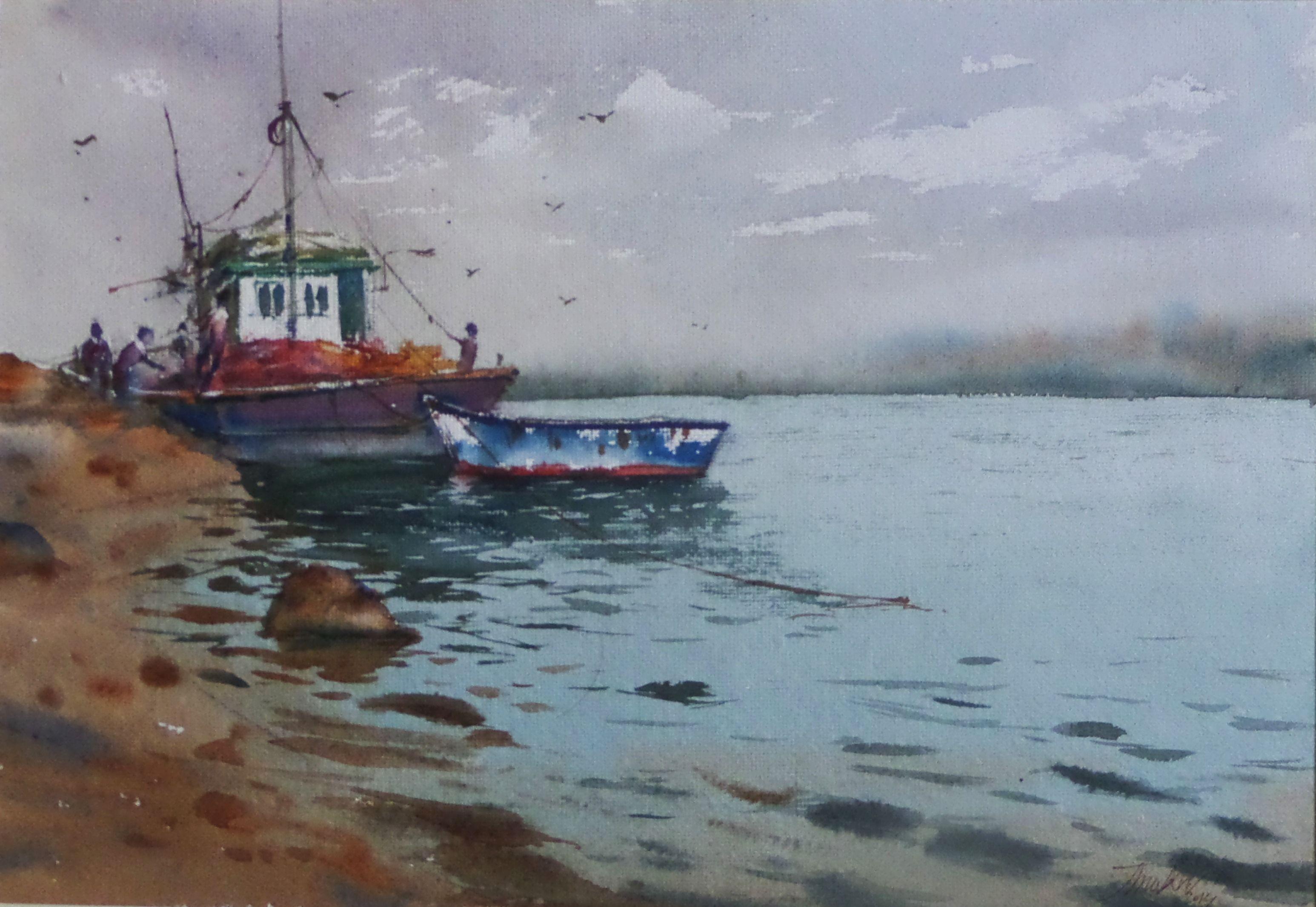 Watercolor Painting Watercolor Sea Painting Fishing Boats