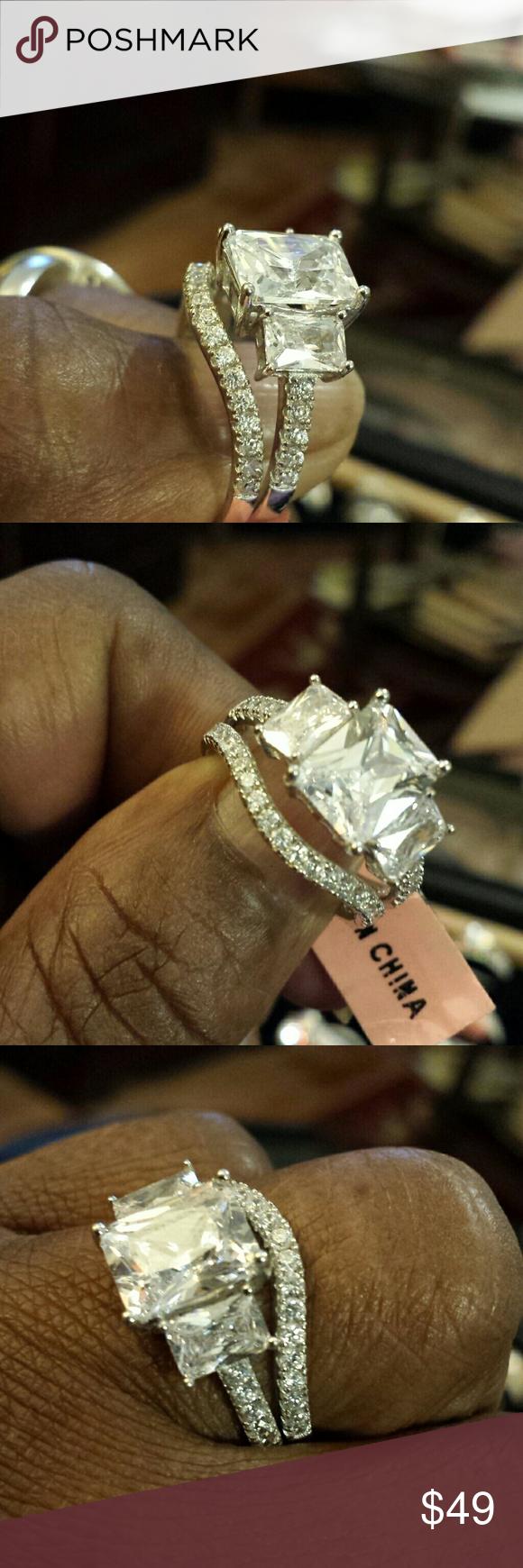 Weddings set Sterling simulated diamonds Jewelry Rings