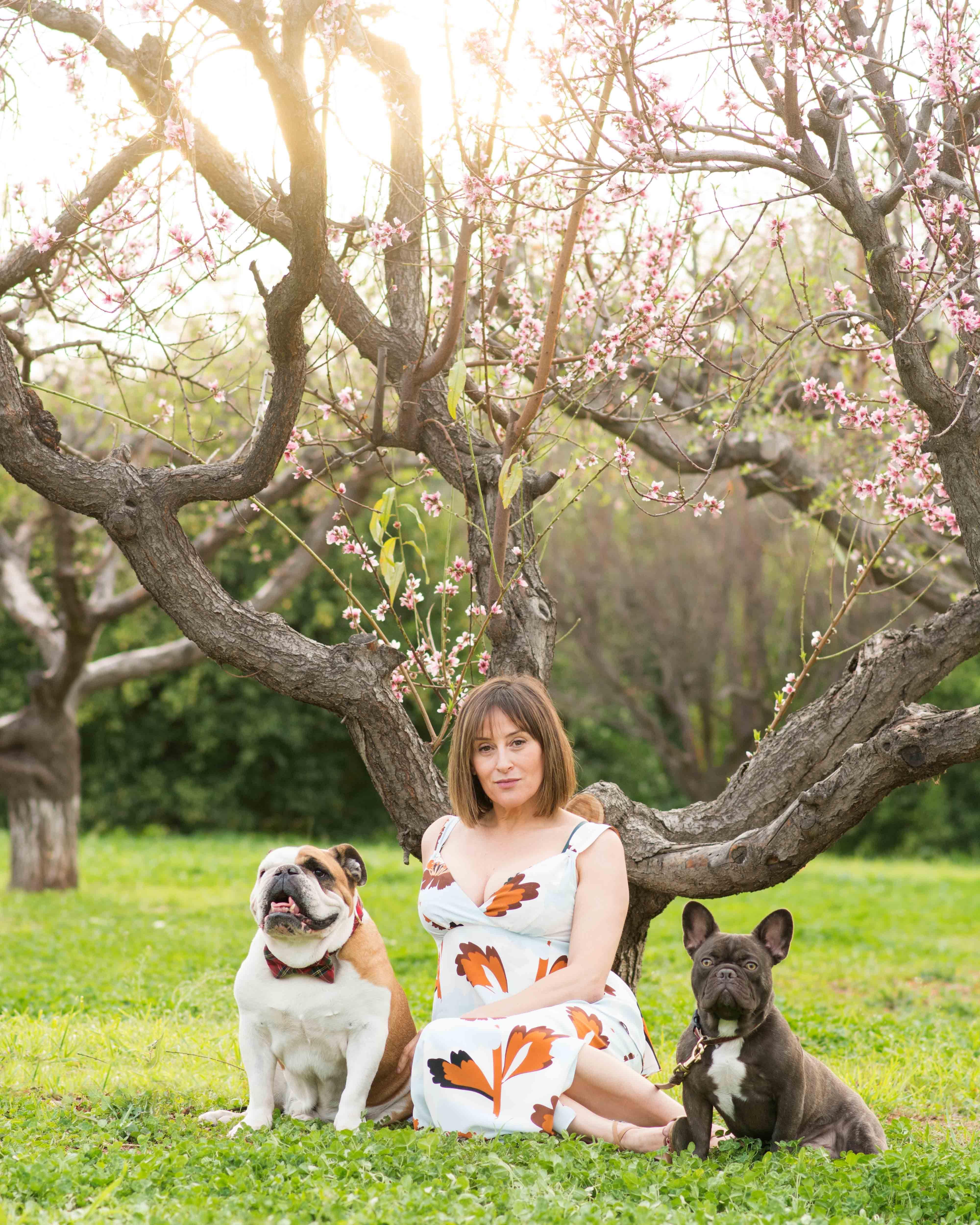 Woman And Two Bulldogs By Peach Blossom Tree In Agritopia Farm In Gilbert Az Peach Blossom Tree Peach Blossoms Pet Portraits