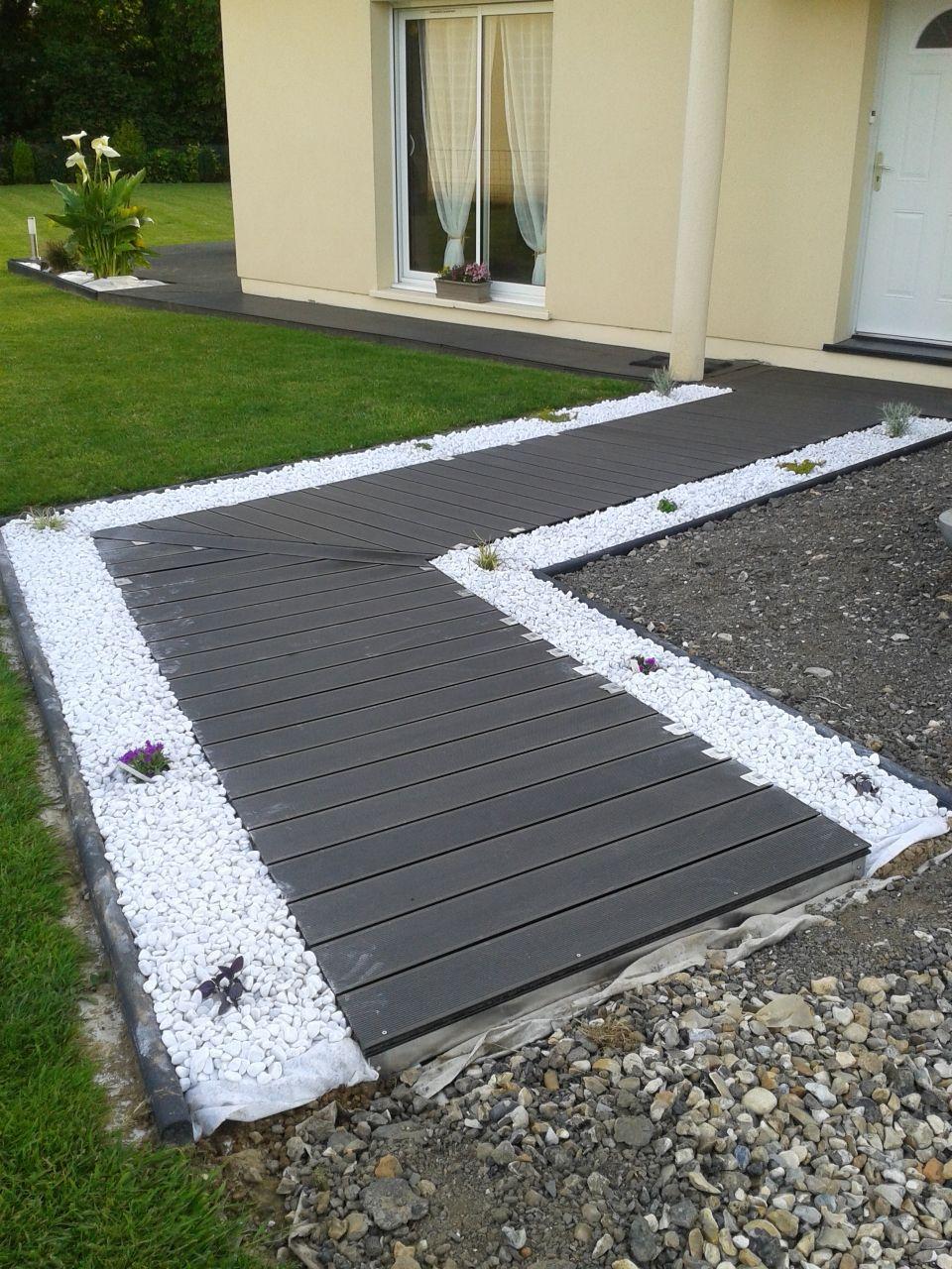 Deco Allee De Maison entrée composite en cours | aménagement jardin devant