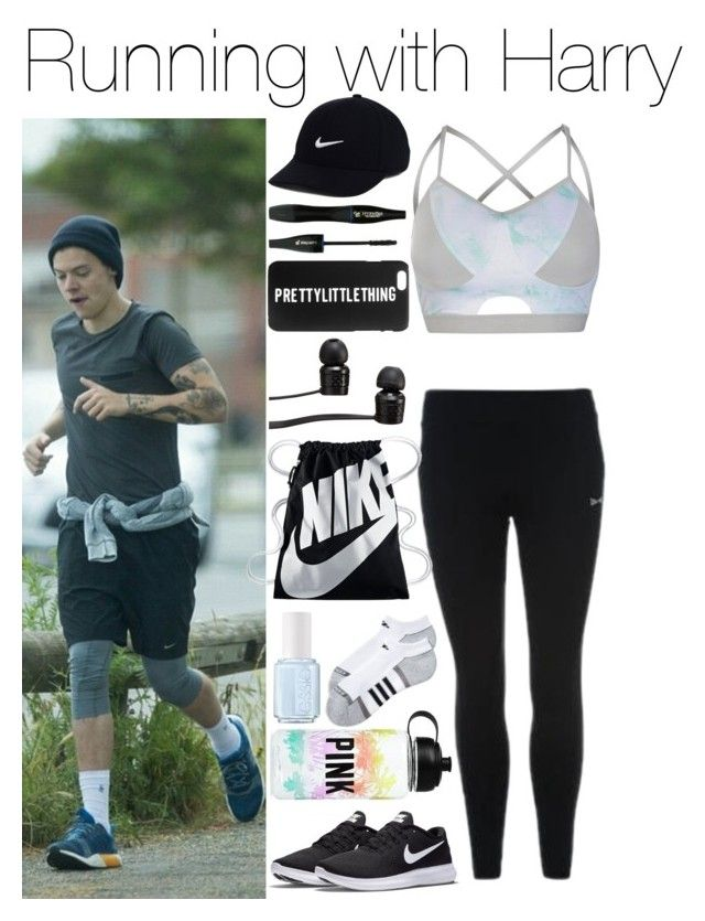 """""""Running with Harry"""" by xhoneymoonavenuex ❤ liked on Polyvore featuring USA Pro, NIKE, Victoria's Secret, Essie, adidas, Vans and Lancôme"""