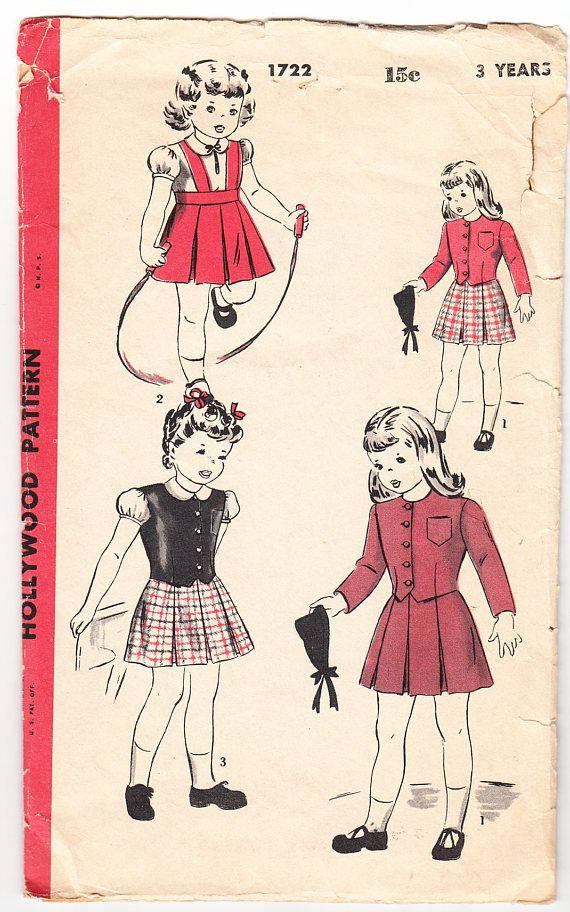 Vintage 1944 Hollywood 1722 Sewing Pattern Children's