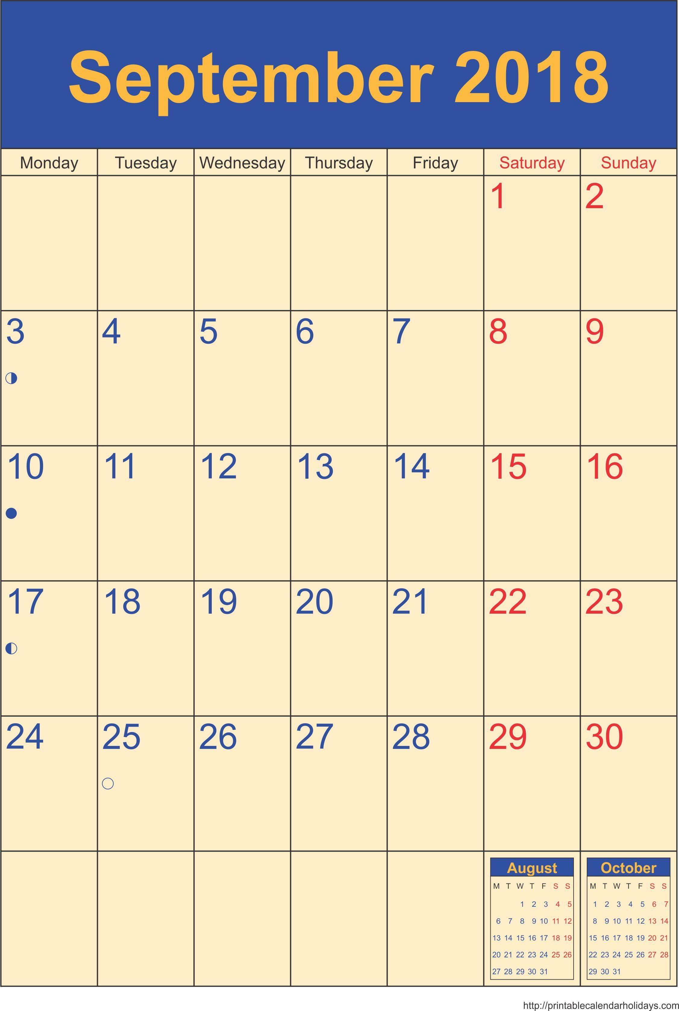 Calendar September 2018 Portrait Blank calendar template
