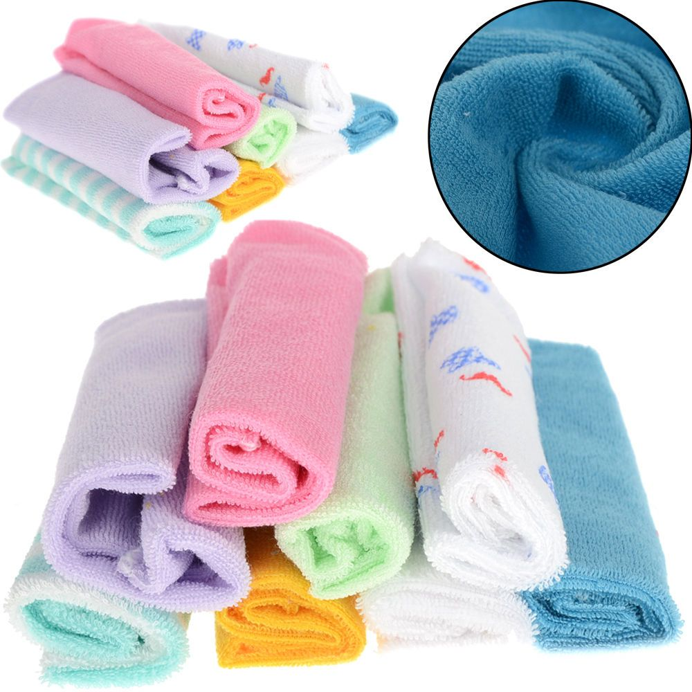 8 Pcs Soft Baby Newborn Children Bath Washcloth Towels For Bathing Feeding