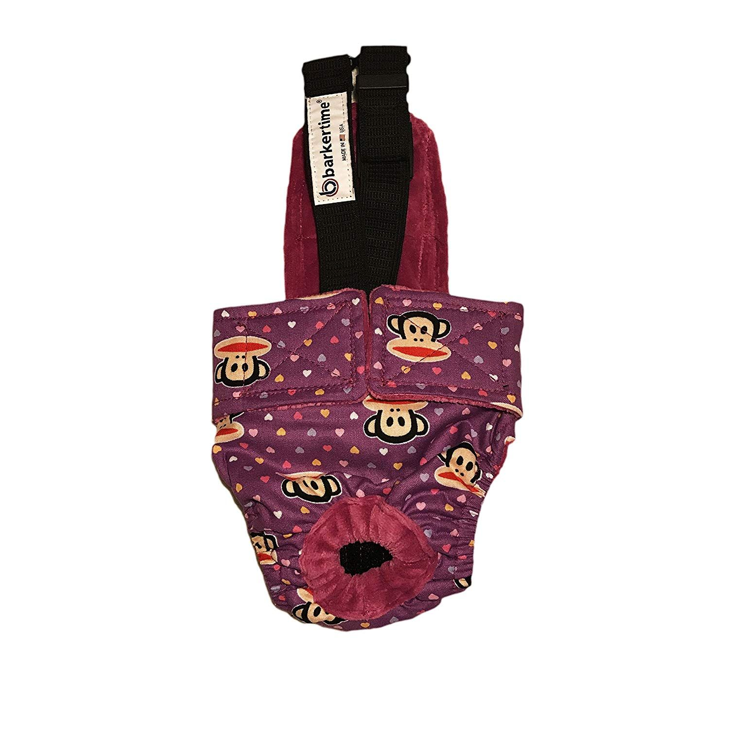 Dog diaper overall made in usa monkey hearts on purple