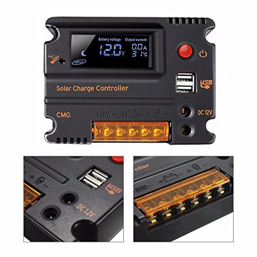 Mohoo 20a 12v 24v Auto Switch Lcd Intelligent Solar Panel Battery Regulator Charge Controller Overload Protection Temperature Solar Panel Battery Portable Power