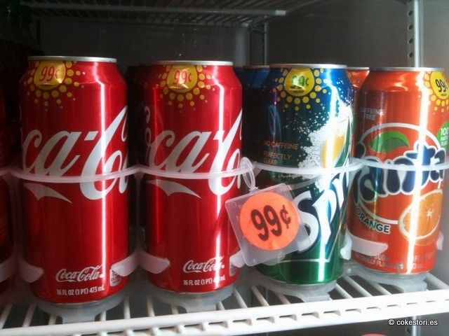 99-cent 16 oz cans of Coca-Cola, Sprite and Fanta sold in California
