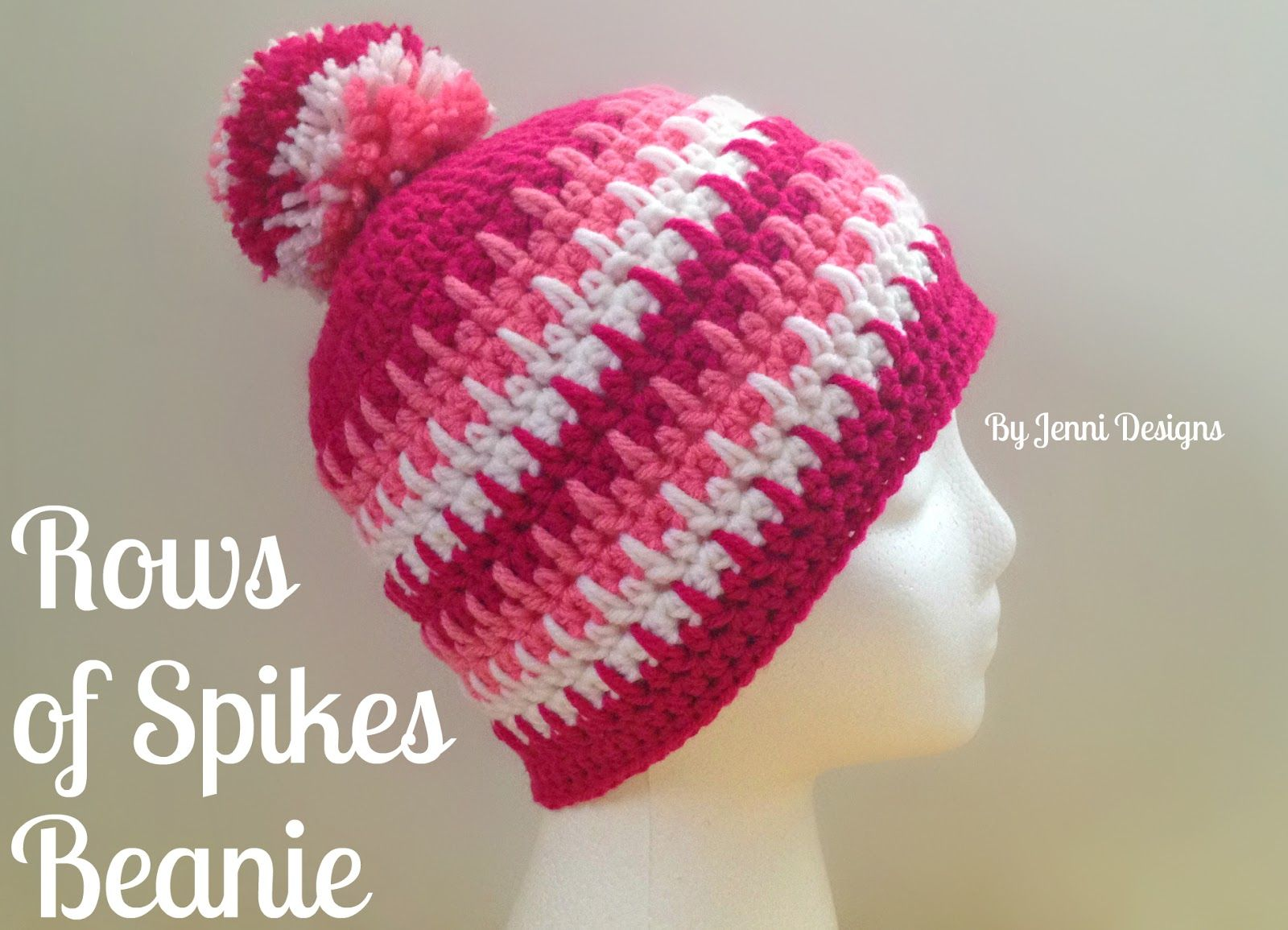 Free Crochet Pattern Womens Rows Of Spikes Beanie For The Love