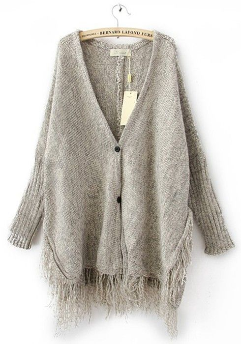 c71e7afae7bb Cozy Gray Tassel V-neck Bat Sleeve Knit Cardigan - Cardigans - Tops  Cozy   Grey  Tassel  Fringe  Knit  Sweater  Cardigan  Fall  Fashion