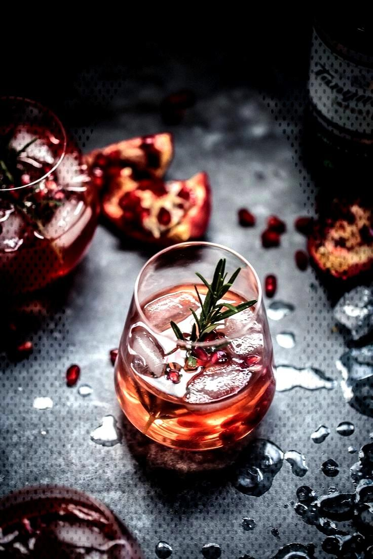 Fresh pomegranate juice mixed with gin, lemon juice, rosemary sugar syrup and topped with soda wate