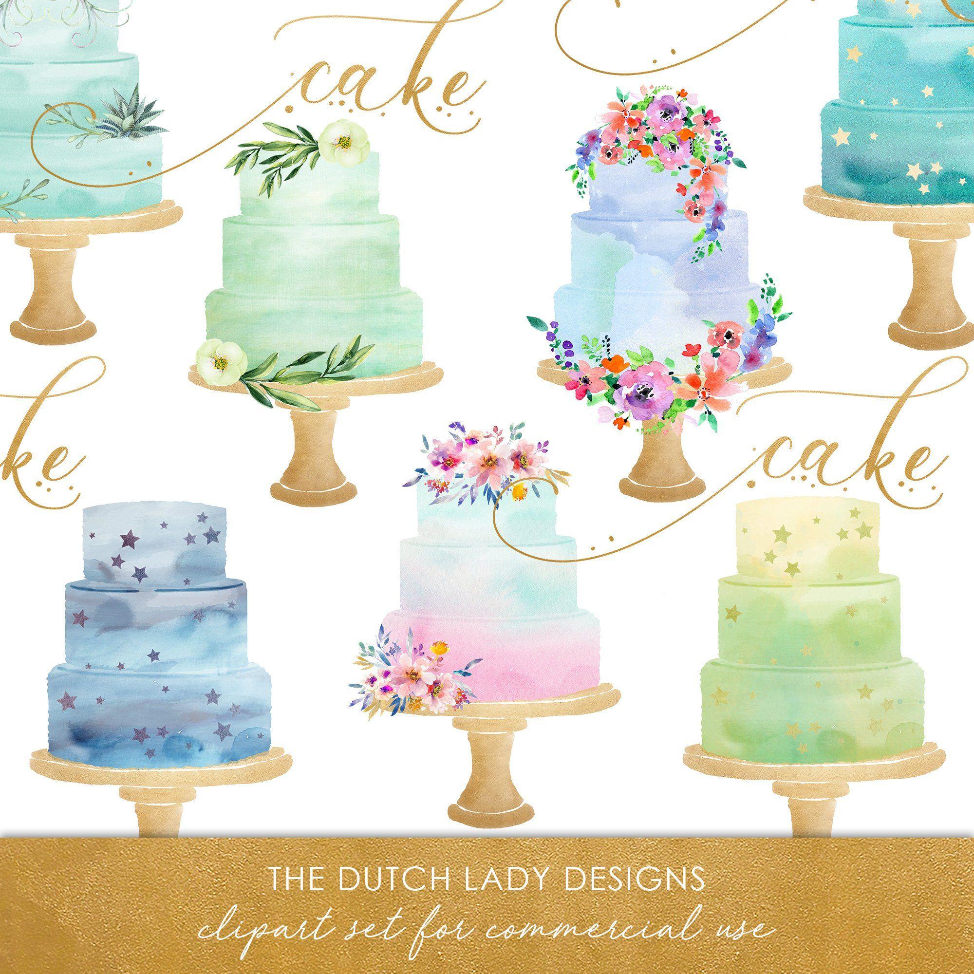 Watercolor Wedding Cake Clipart In Aqua Green Blue