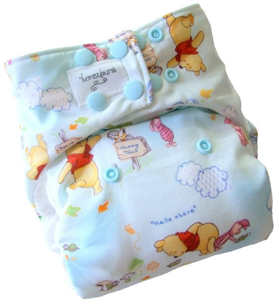 Winnie the Pooh One Size Cloth Diaper with PUL Snaps - Newborn Toddler Boys Girls Gender Neutral