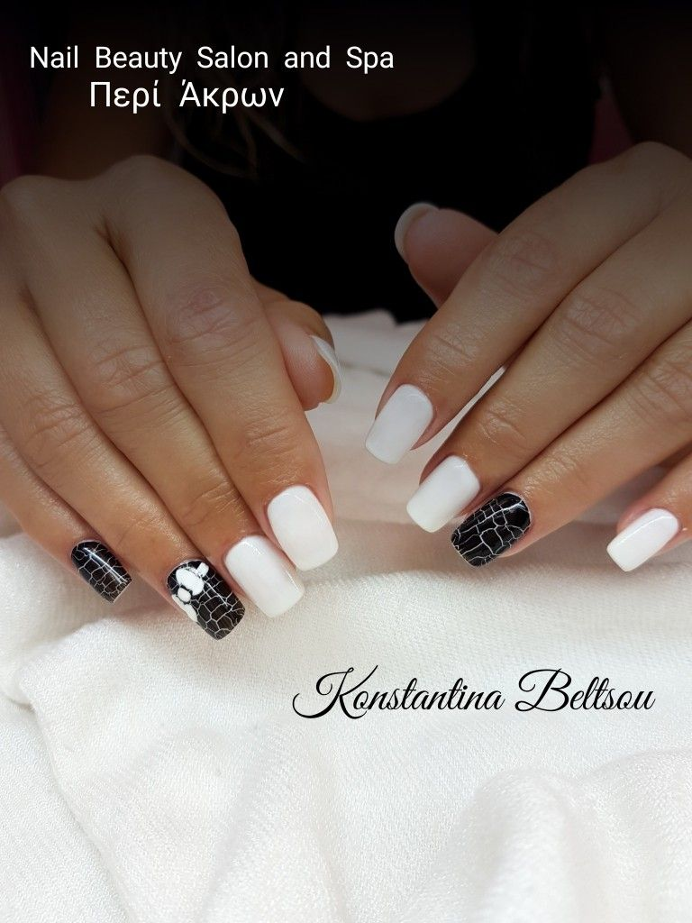 Square long Gel nails, gel polish cracked effect with bow gel ...