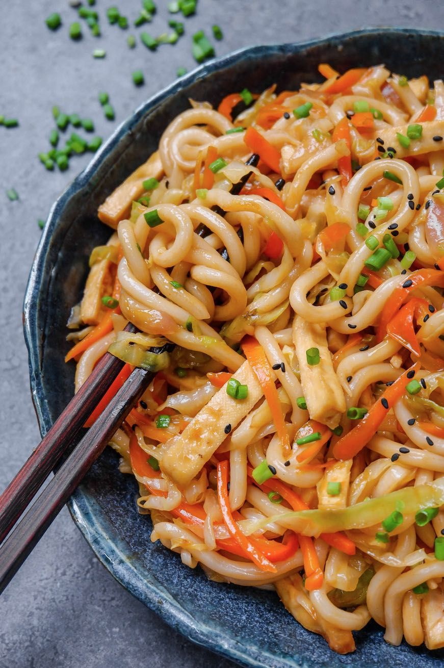 Sweet And Spicy Udon Noodle Stir Fry Vegan Recipe In 2020 Healthy Snacks Recipes Recipes Sweet And Spicy