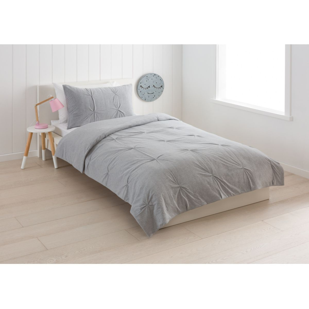 Jersey Pintuck Comforter Set Single Bed Grey Kmart Bed