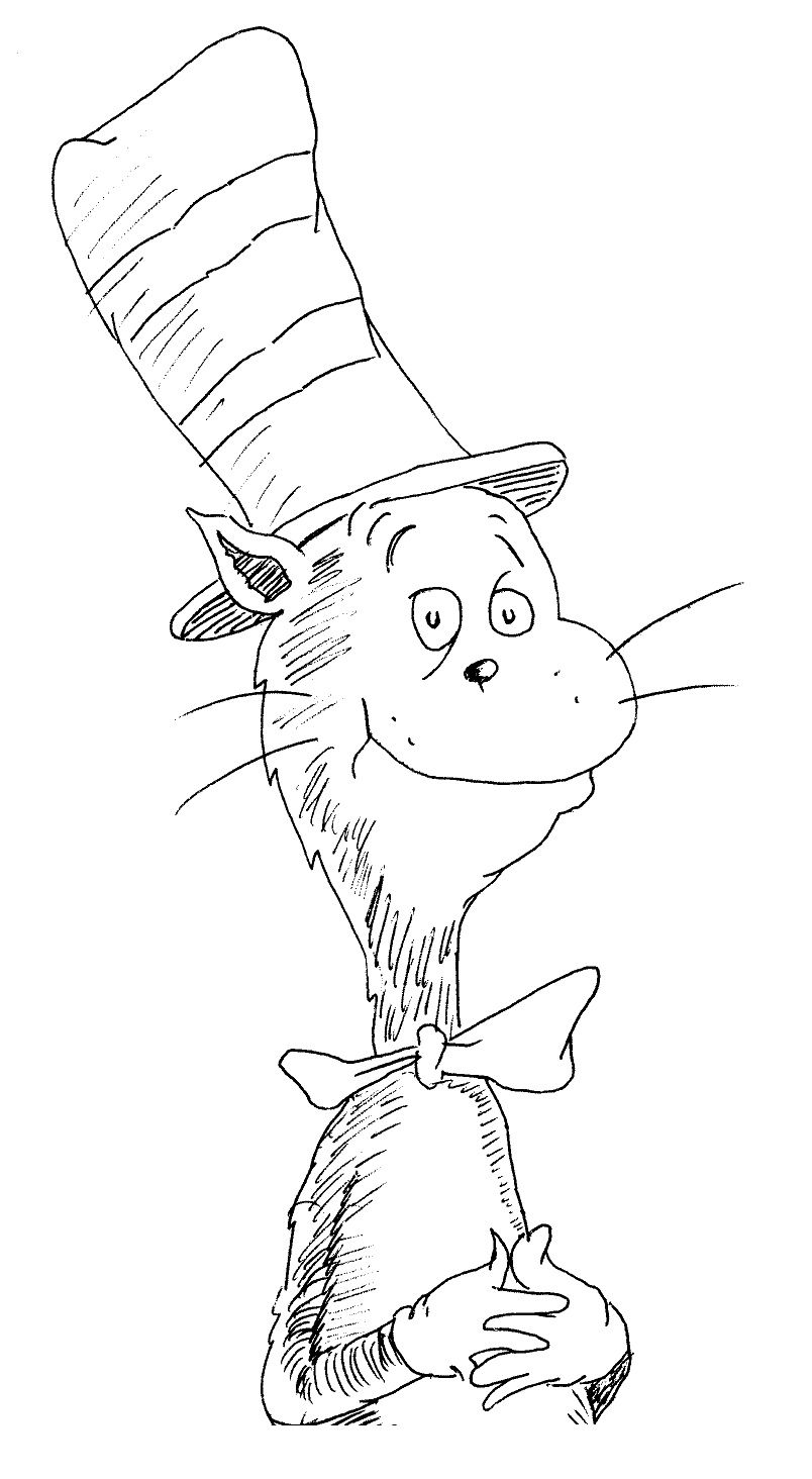 cat in the hat coloring pages to print 01 Dr. Seuss