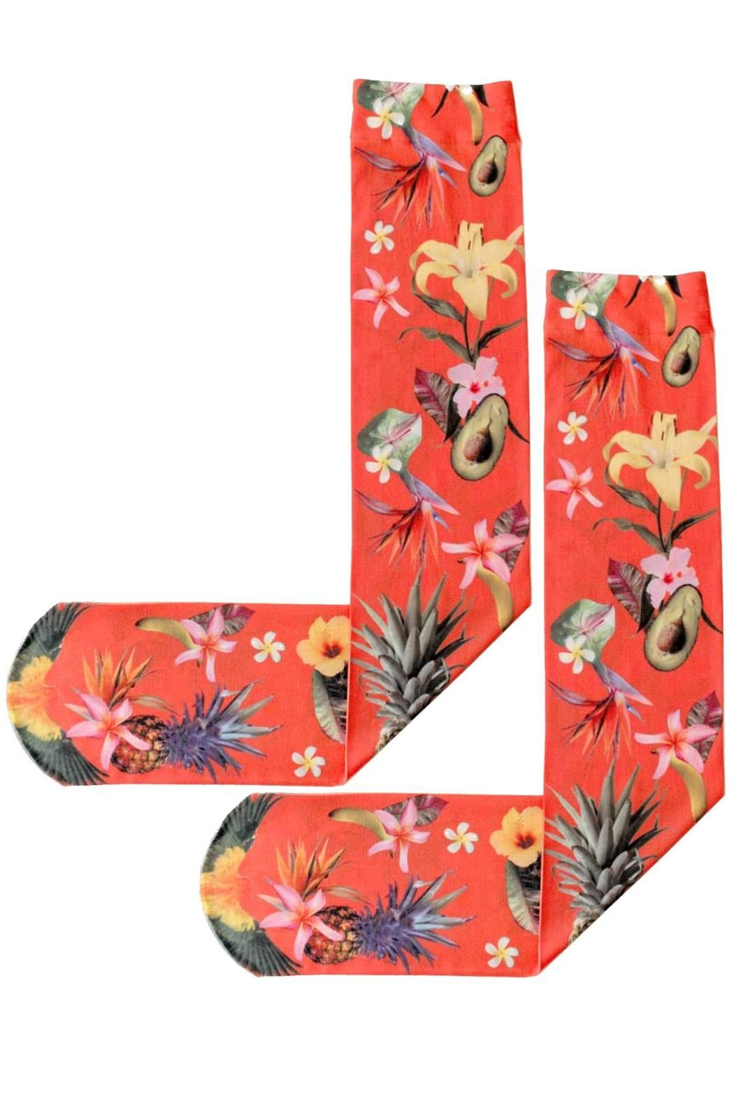 90dbbdd4110 These opaque socks are printed with fruits and flowers on a red background.  Fruit Punch Knee Highs by ...