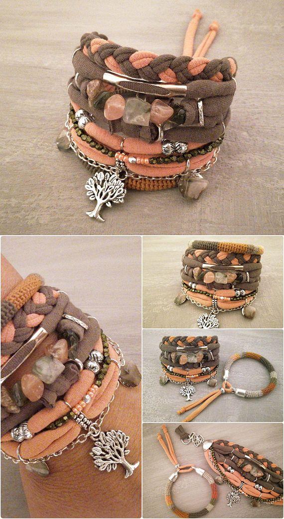 46ca25cf230b2 Naranja verde pulsera Boho gitana alma OOAK brazalete conjunto Fabric  Bracelets