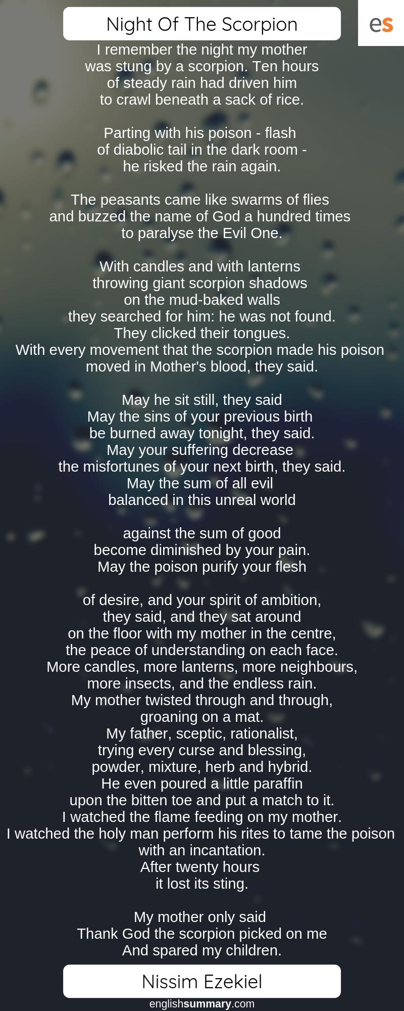 Night Of The Scorpion Poem By Nissim Ezekiel Poetry Poems Summary Ozymandia Shelley