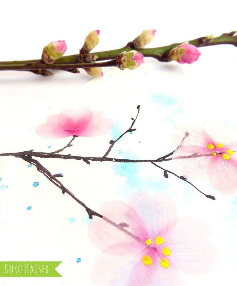 Zweige Mit Kirschbluten Aus Flower Washi Tape Kirschbluten