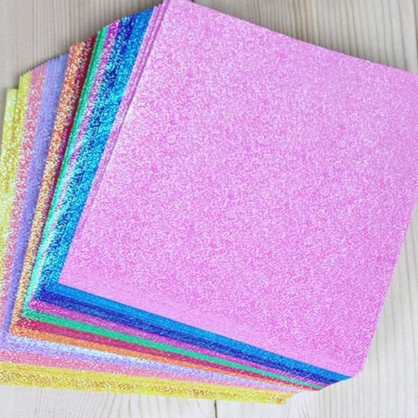 Photo of 50pcs/set Square Origami Paper Single Side Shining Folding Solid Color Papers Kids Craft