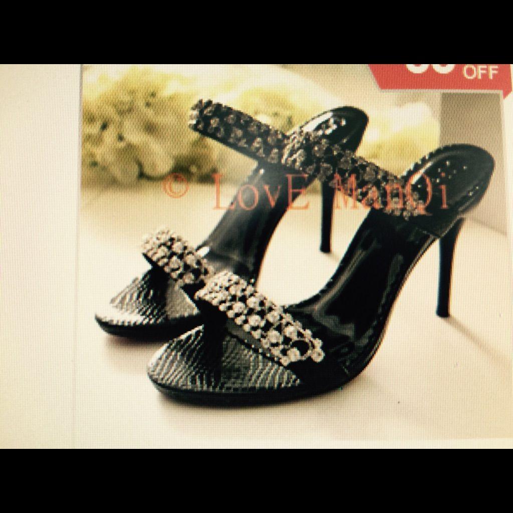 Women'S Rhinestone Black Sandals