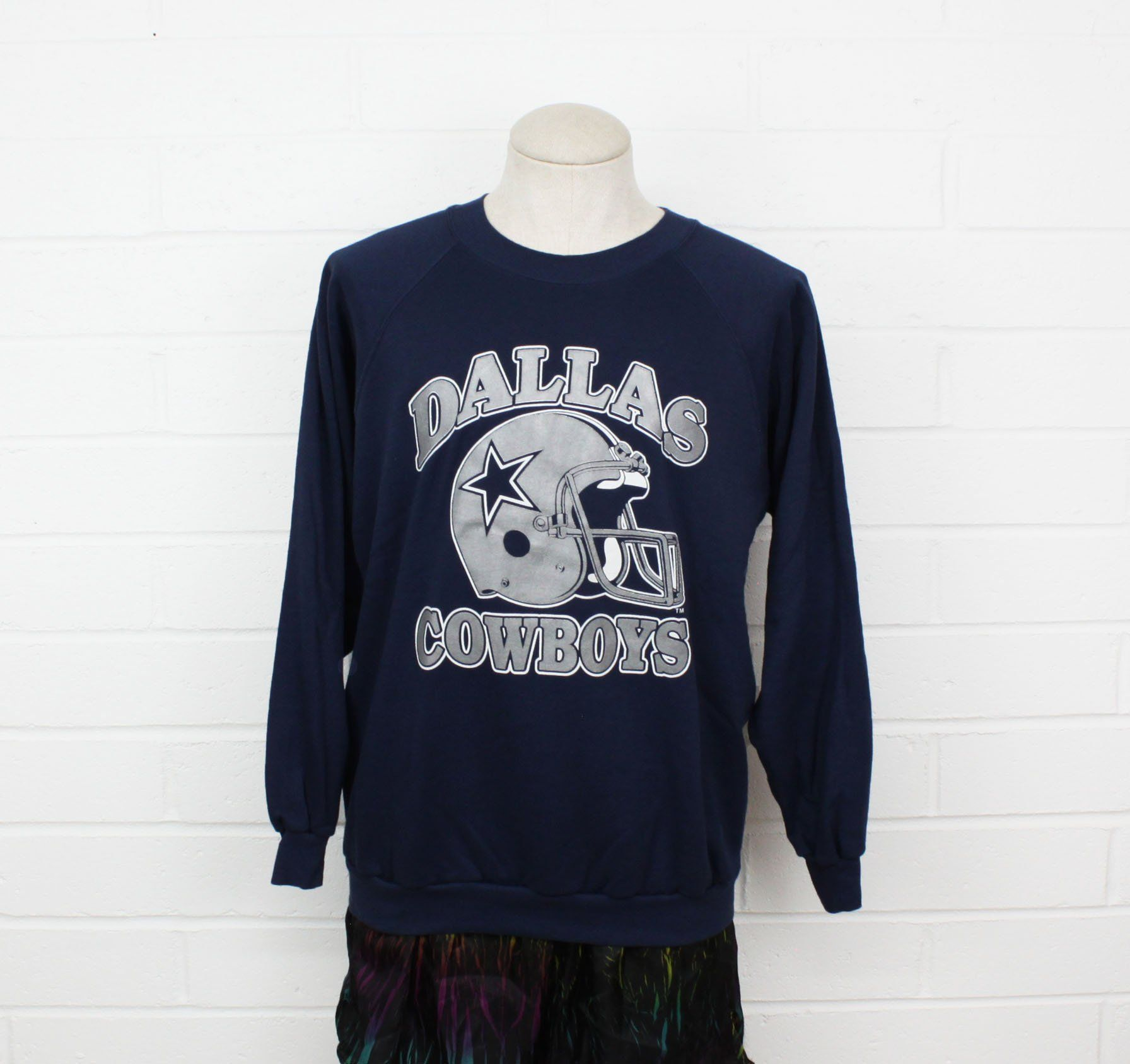 3e0d3b79 Vintage 80s Dallas Cowboys Sweatshirt Large Navy Blue NFL Football ...