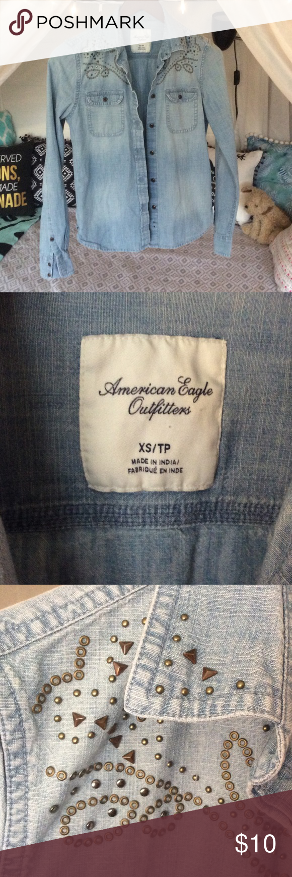 American Eagle Denim Jean Studded Shirt Couple of the smaller studs are missing but it's extremely hard to tell. American Eagle Outfitters Tops