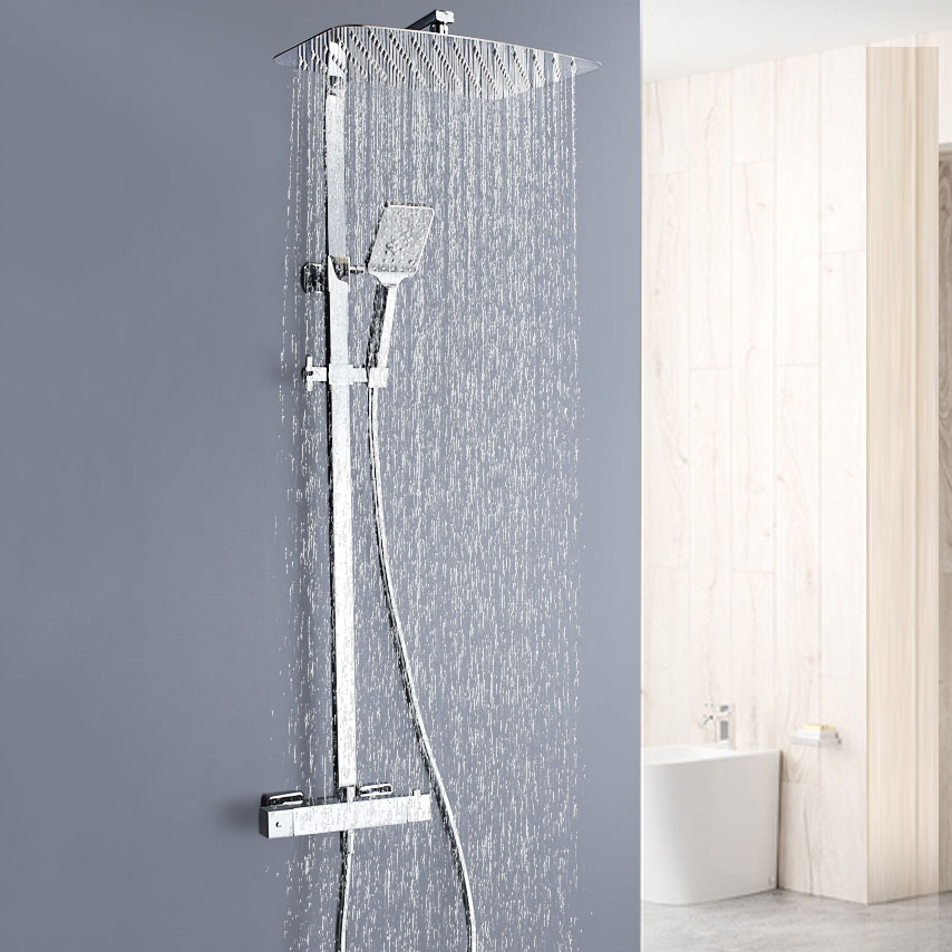 Thermostatic Shower Faucet System Stainless Steel Big Top Sprayer