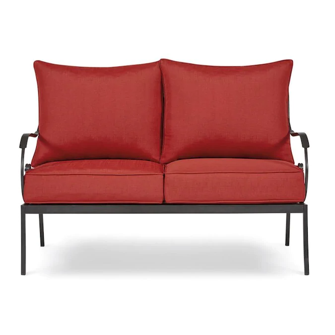 Garden Treasures Yorkford Outdoor Loveseat With Cushion And Red Wrought Iron Frame Lowes Com Outdoor Loveseat Love Seat Wrought