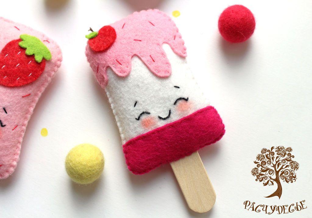 """Купить Игрушка из фетра """"Мороженое"""" - фетр, кукольная еда, еда для кукол, игрушки из фетра"""