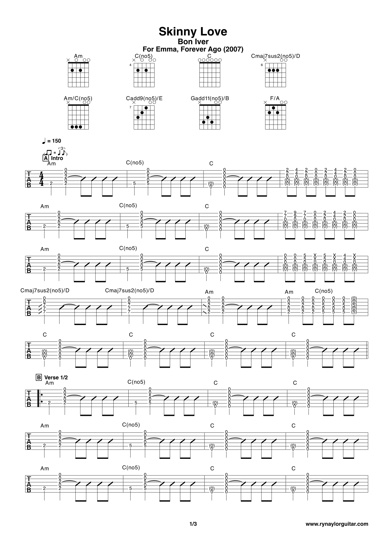 Skinny Love Chords Bon Iver Choice Image Piano Chord Chart With