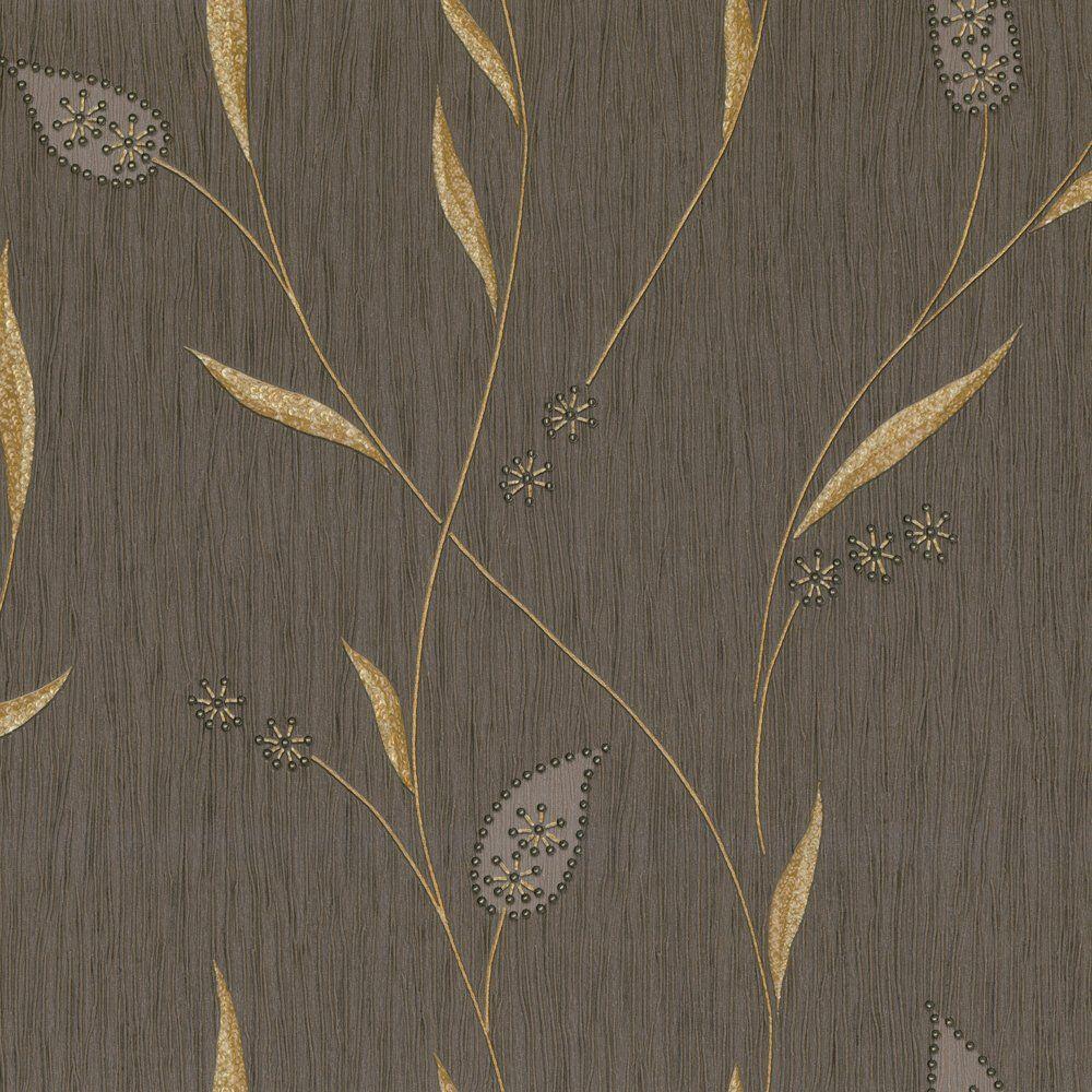 Belgravia Decor Tiffany Lustre Italian Vinyl Wallpaper Brown Gold