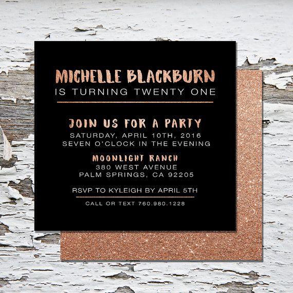 21st Birthday Invitation Rose By MilkandHoneyDesignCo On Etsy