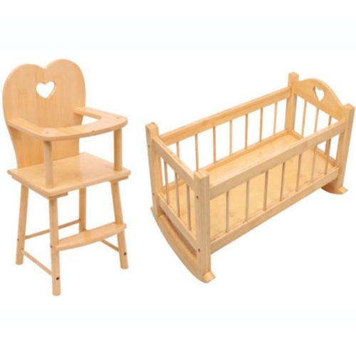 Set Of Dolls Wooden Rocking Cradle Cot Bed And Matching Doll 39 S Feeding High Chair Toy