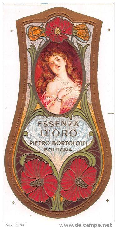 """04858 """"DITTA PIETRO BORTOLOTTI - BOLOGNA - ESSENZA D'ORO"""" ETICHETTA ORIGINALE PER COSMESI. - Etiquettes"""