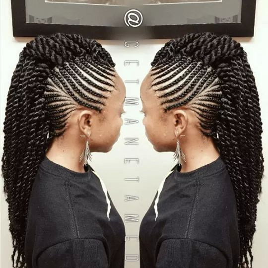 Idee Coiffure Braided Mohawk Hairstyles Cornrow Hairstyles Natural Hair Styles