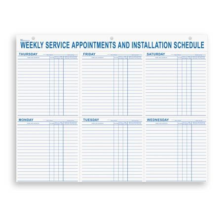 Weekly Service Appointment Pad  Automotive Forms
