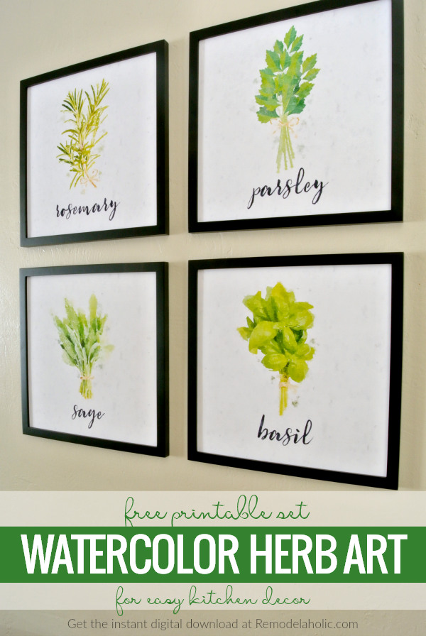 Free Printable Set Watercolor Herb Art For Easy Kitchen Decor