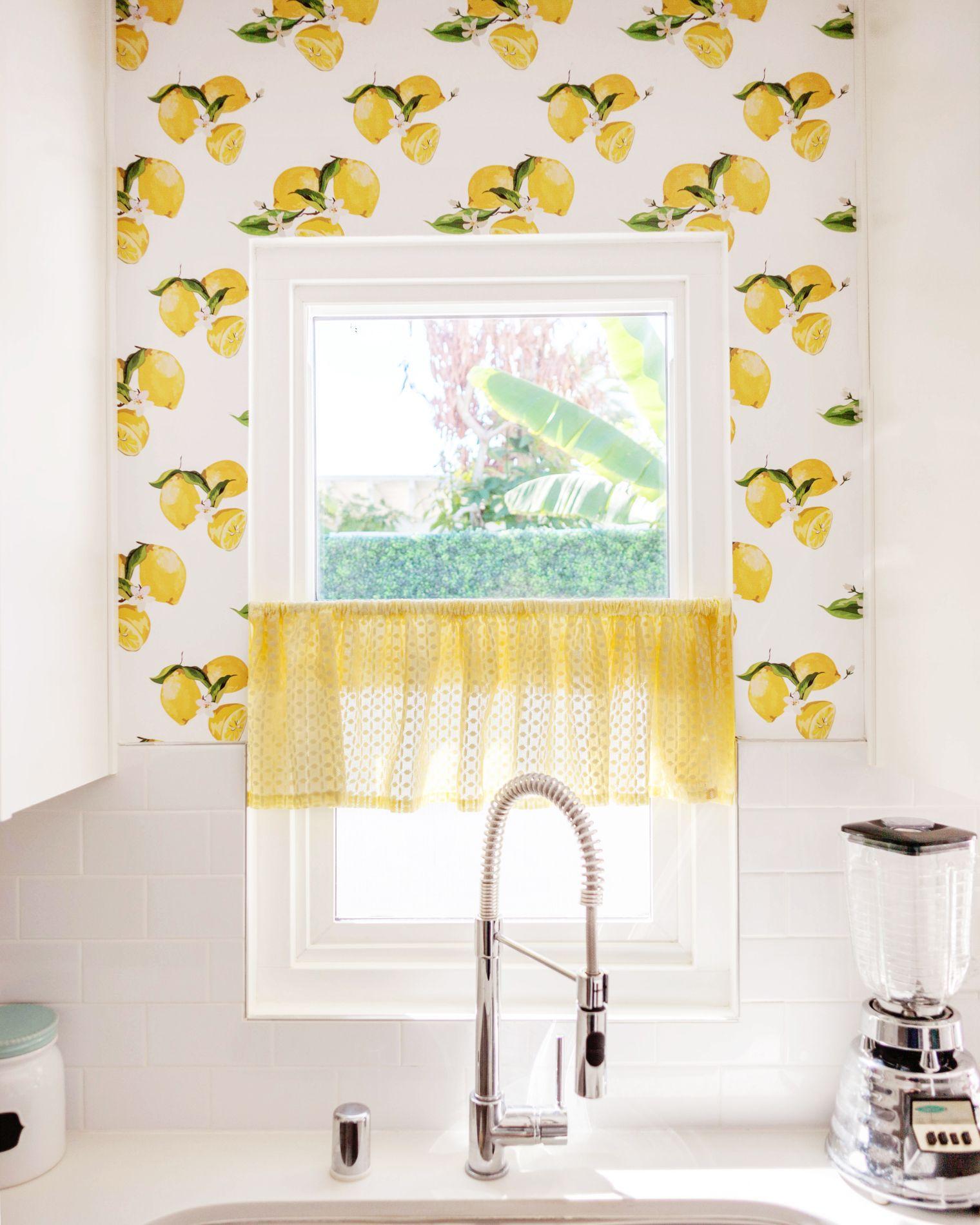 Custom Printed Lemon Peel And Stick Wallpaper From