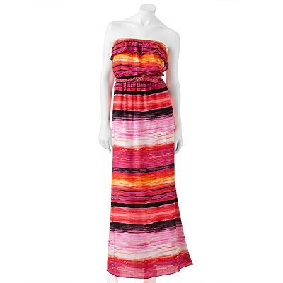 Trixxi Striped Ruffled Strapless Maxi Dress - Juniors