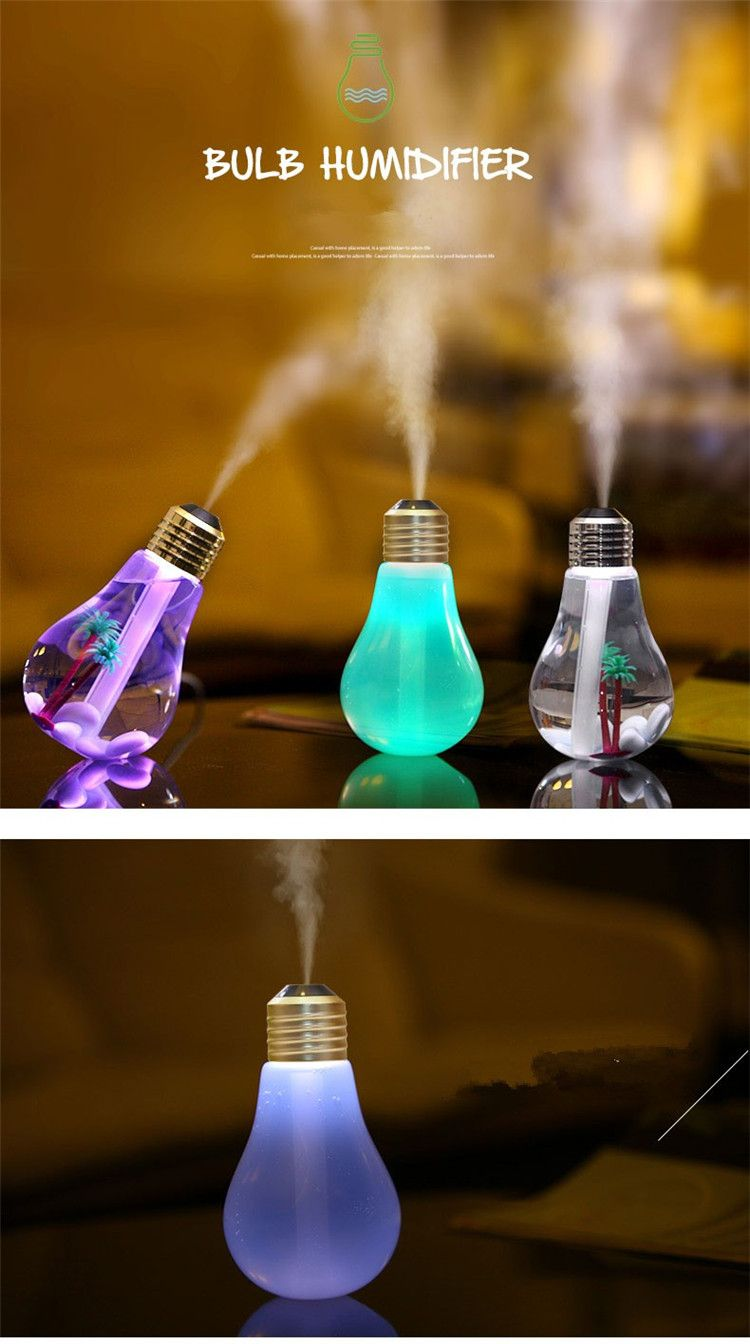 Usb Ultrasonic Humidifier Home Office Mini Aromatherapy Colorful Led Night Light Bulb Bottle Is Multicolor Newchic Mobile Humidifier Night Light Bulbs Lamp