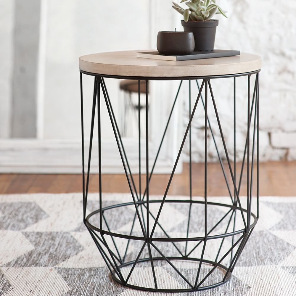 Geometric Metal Wire Side Table | Bouclair.com
