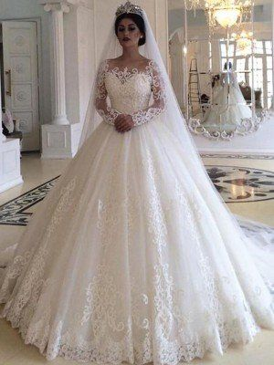 Ball Gown Tulle Applique Off-the-Shoulder Long Sle