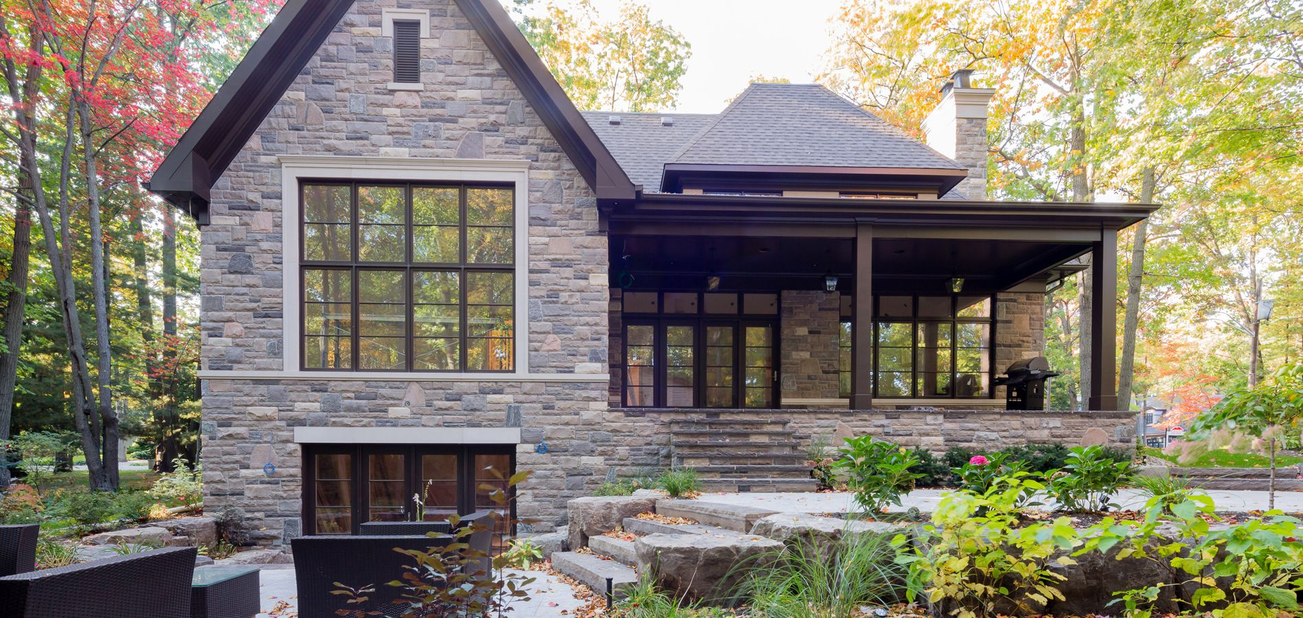 Copper Corner Transitional Portfolio David Small Designs Architectural Design Firm Small Lake Houses Lake House Plans Courtyard House Plans