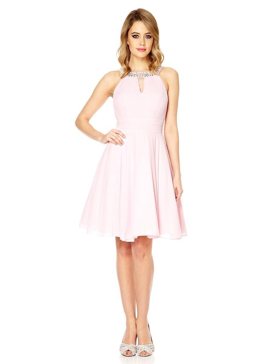 Pink Diamante Neck Prom Dress - Quiz Clothing | Bridesmaid dresses ...