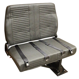 Double Mid Back BV Foldaway Bus Seat in Gray Vinyl with 2